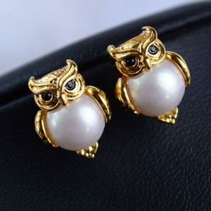 kate spade owl earrings studs with real pearl